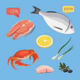Fresh organic seafood. Vector illustration. Seafood products set with salmon steak. Fresh organic seafood. Vector illustration. Seafood products set with salmon Stock Photos