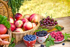 Fresh organic seasonal fruits. On table Royalty Free Stock Images