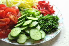 Fresh organic sliced vegetables on the white plate on the wooden table. Close up, selective focus. Royalty Free Stock Photo