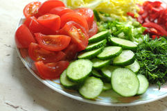 Fresh organic sliced vegetables on the white plate on the wooden table. Close up, selective focus. Royalty Free Stock Photography