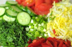 Fresh organic sliced vegetables on the white plate on the wooden table. Close up, selective focus. Stock Photo