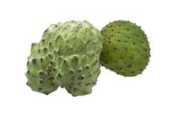 Soursop and custard apple fruits centered and isolated on white background. Fresh organic soursop and custard apple fruits centered and isolated on white Royalty Free Stock Photos