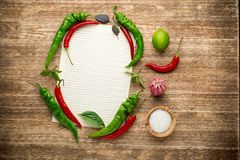 Fresh Organic Spices on a Wooden Background and Royalty Free Stock Image
