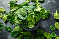 Fresh organic spinach leaves in marble pestle ready for pesto making.  Royalty Free Stock Images