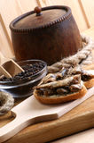 fresh organic sprats on home made toast Royalty Free Stock Image