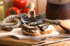 Fresh organic sprats on home made toast. Some fresh organic sprats on home made toast stock images