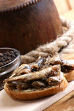 Fresh organic sprats on home made toast Stock Images
