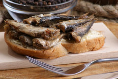 Fresh organic sprats on home made toast Royalty Free Stock Images