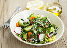 Fresh Organic Spring Vegetable Salad with Chilli Flakes Stock Photos