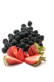 Fresh organic strawberries and blackberries Royalty Free Stock Image