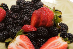 Fresh organic strawberries and blackberries Stock Photo