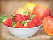 Fresh organic strawberries in bowl Stock Photos