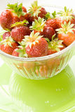 Fresh Organic Strawberries in a Transparent Bowl Stock Photo