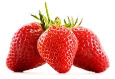 Fresh organic strawberries on white background Stock Images