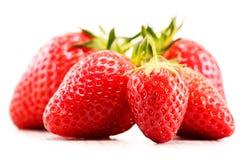 Fresh organic strawberries on white background Stock Photos