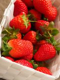 Fresh organic strawberries in a white basket Stock Images