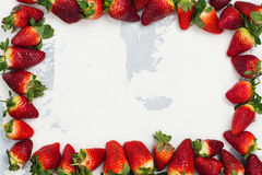 Fresh organic strawberry. Space for text. Top view Stock Photo