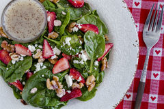 Fresh organic strawberry spinach salad Royalty Free Stock Photos