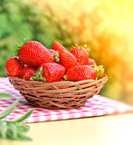 Fresh organic strawberry. In a wicker basket on the table Royalty Free Stock Images