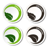 Fresh and organic symbols with leaf Stock Photo