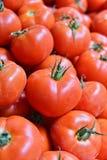 Fresh organic tomatoes on street market stall Stock Photos