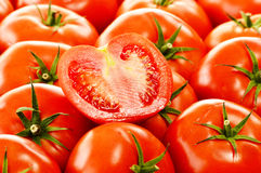 Fresh organic tomatoes on street stall Stock Photo
