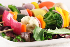 Fresh organic vegetable skewers. Organic vegetables for a healthy living,skewers ready to be grilled Stock Photography