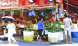 Fresh and organic vegetable stall, hong kong Royalty Free Stock Images