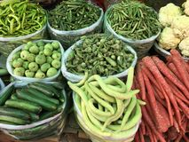 Fresh organic vegetable on street market stall. New Fresh organic vegetable on street market stall Stock Photo