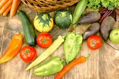 Fresh organic vegetable on table - healthy food in diet. Fresh organic vegetable on table closeup - healthy food in healthy diet Stock Photos