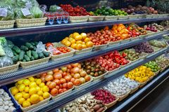 Fresh Organic Vegetables And Fruits On Shelf In Supermarket, Farmers Market. Healthy Food Concept. Vitamins And Minerals. Royalty Free Stock Photos