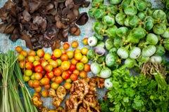Fresh organic vegetables at asian market Stock Photos
