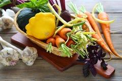 Fresh organic vegetables in a basket. Food closeup Royalty Free Stock Image