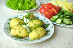 Fresh organic vegetables and boiled new potatoes on the plates Royalty Free Stock Photos