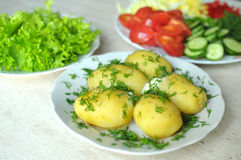 Fresh organic vegetables and boiled new potatoes on the plates Stock Photo