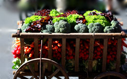 Fresh organic vegetables on carts. Fresh organic vegetables is neat and decorative filled in an old wooden cart Royalty Free Stock Photo