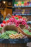 Fresh organic vegetables on display at market. Stock Images