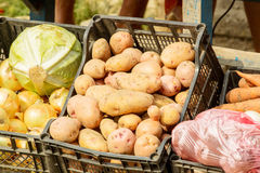 Fresh organic vegetables eco food on market. Box Royalty Free Stock Photos