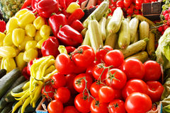 Fresh organic vegetables on farmers market. Vegetables close-up Royalty Free Stock Photos