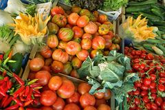 Fresh and organic vegetables at farmers market Royalty Free Stock Image