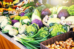 Fresh organic vegetables at farmers market Stock Photo