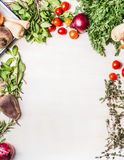 Fresh organic vegetables food background on white wooden. Top view, frame Royalty Free Stock Images
