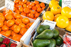 Fresh organic vegetables and fruit at the city market Royalty Free Stock Image