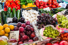Fresh organic vegetables and fruit at the city market Stock Image