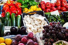 Fresh organic vegetables and fruit at the city market Royalty Free Stock Photo