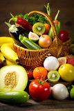 Fresh, organic vegetables and fruits Royalty Free Stock Photos