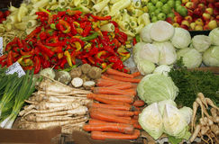Fresh and organic vegetables and fruits in market Stock Photos