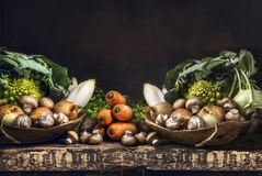 Fresh organic vegetables from garden on old rustic wooden table, vegetarian cooking Royalty Free Stock Photos