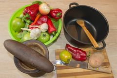 Fresh organic vegetables, green tomato, onion, potato, green french beans, garlic and pepper on table. Fresh organic vegetables, c Royalty Free Stock Photos