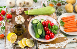 Fresh organic vegetables. Healthy Food background. Top view Royalty Free Stock Images